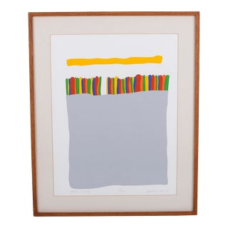 "1979 ""Winter Sunset"" Abstract Silkscreen by C. Daniel Gelakoska, Framed For Sale"