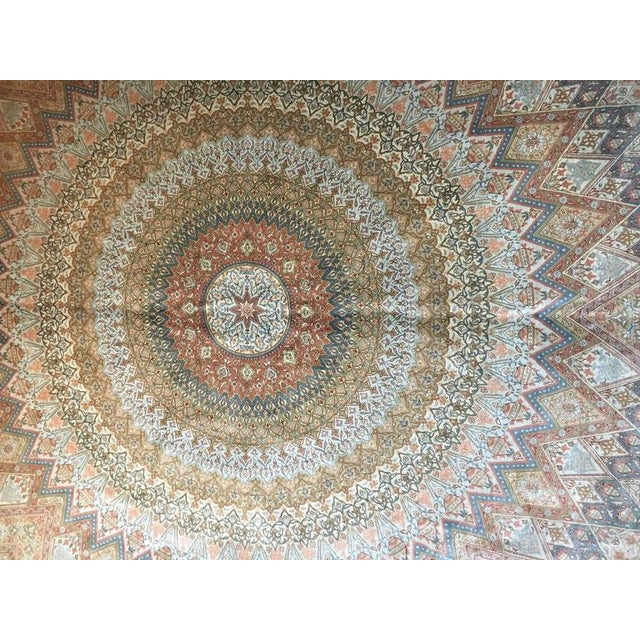 Finely Knotted Silk Qom Carpet - 7′10″ × 11′4″ - Image 3 of 8