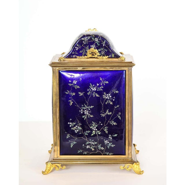 19th Century French Bronze and Limoges Enamel Jewelry Vitrine Cabinet with Clock For Sale - Image 5 of 13