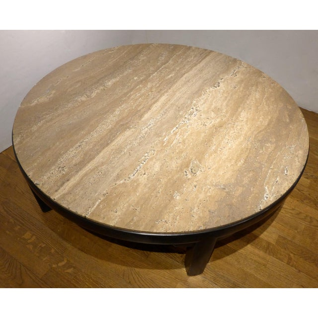 Edward Wormley Cocktail Table with Travertine Top - Image 2 of 9