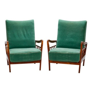 Pair Italian Mid Century Open Work Lounge Chairs For Sale