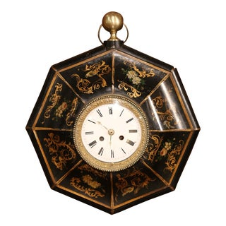 19th Century, French Napoleon III Black and Gilt Painted Tole Wall Clock For Sale