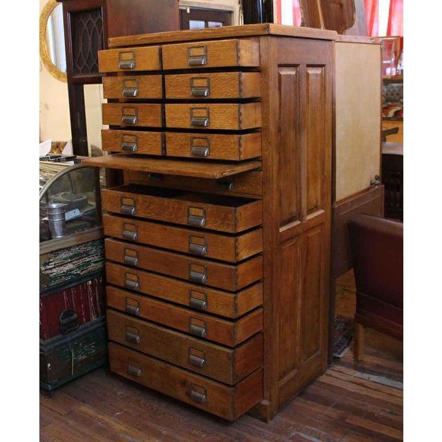 Industrial Antique 16-Drawer Oak File Cabinet For Sale - Image 3 of 4 - Antique 16-Drawer Oak File Cabinet Chairish