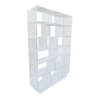 Vintage Lucite Shelving Wall Unit or Room Divider For Sale