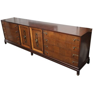 Renzo Rutili Three-Part Walnut Credenza For Sale