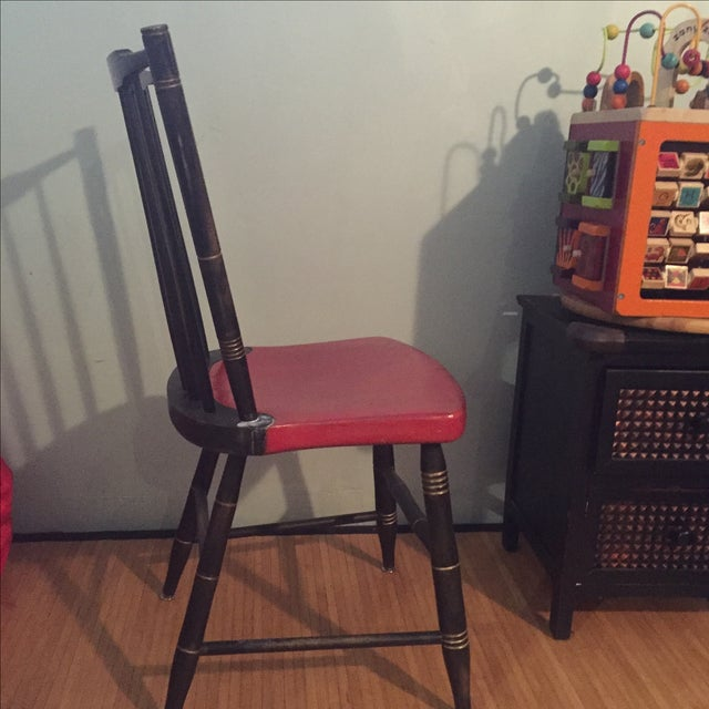 Antique Painted Red & Black Children's Chair - Image 4 of 5