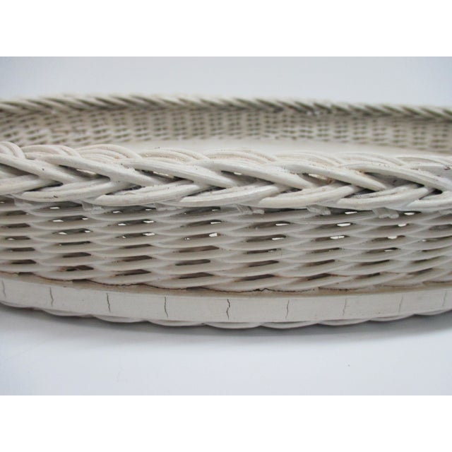 Boho Chic Vintage Country Breakfast Oval Serving Tray in White Painted Wood and Wicker Borders For Sale - Image 3 of 5