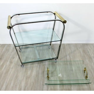 Mid Century Modern Baughman Dia 3 Tier Brass Chrome Glass Bar Serving Cart 1970s Preview