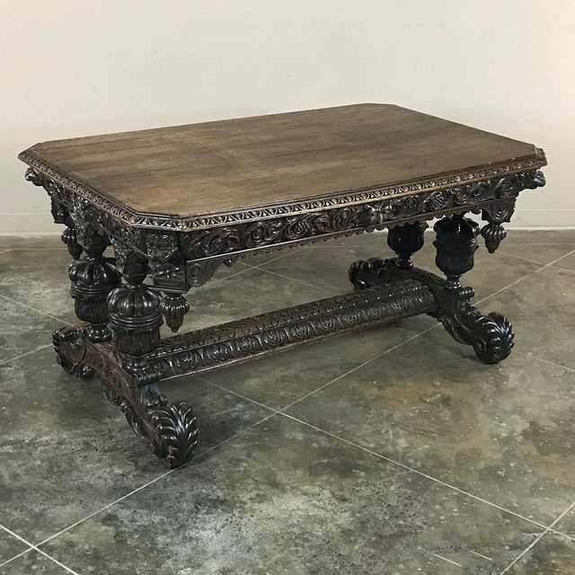 19th Century French Renaissance Writing Table With Dolphins For Sale - Image 4 of 13
