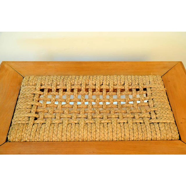 1950s Rare Oak and Rope Side Table by Adrien Audoux and Frida Minet For Sale - Image 5 of 6