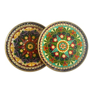 Vintage Mid Century Moroccan Brass Multicolor Inlaid Enamel Decorative Wall Plates - Set of 2 For Sale