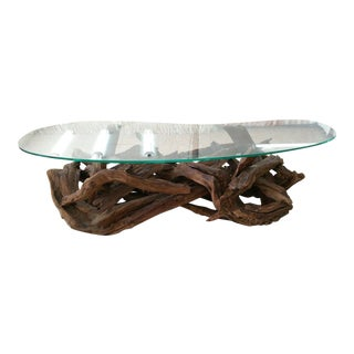 1970s Vintage Tangled Biomorphic Driftwood Cocktail Table For Sale