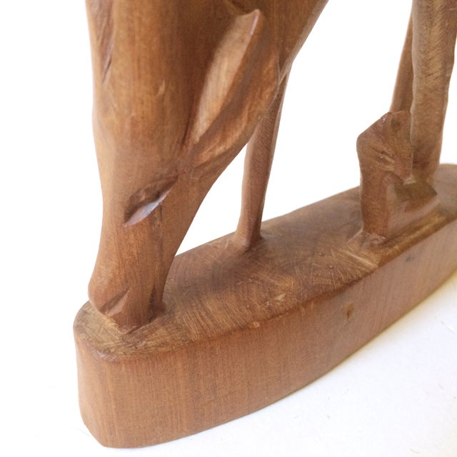 Hand Carved Wooden African Antelope Figurine - Image 5 of 5