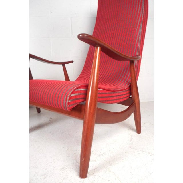 Textile Mid-Century Modern High Back Walnut Lounge Chairs - A Pair For Sale - Image 7 of 9