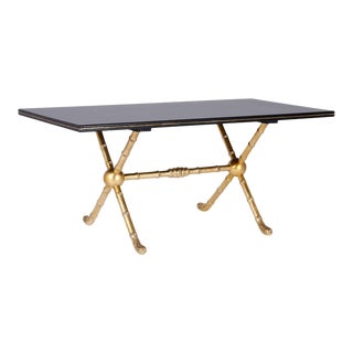 Rectangular Black Lacquer and Gold Leaf Table For Sale