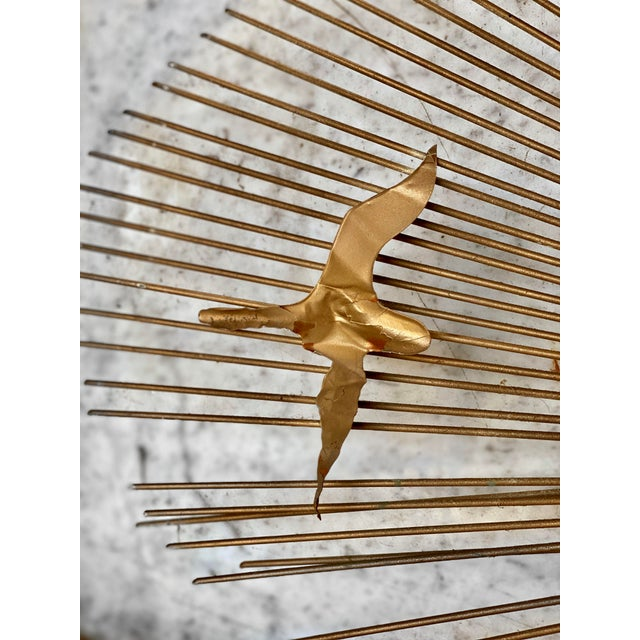 Mid-Century Brass Sunburst Birds in Flight Wall Sculpture by William Friedle For Sale - Image 11 of 13