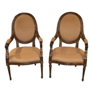 Marge Carson Carved Oval Back French Style Chairs - A Pair