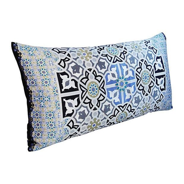 "Aesthetic Movement Jumbo Italian Silk Andalusian Moorish Feather/Down Lumbar Pillow 37"" X 18"" For Sale - Image 3 of 8"