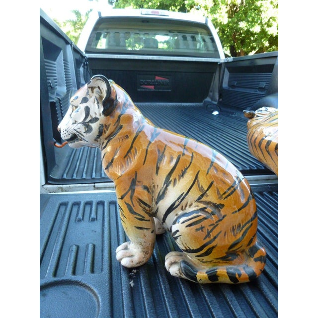 Pair of Large Mid-Century Italian Glazed Terracotta Tigers, Mother and Her Cub For Sale - Image 12 of 13