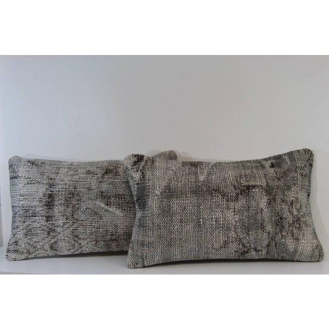 Gray Lumbar Over-Dyed Rug Pillow Covers - A Pair - Image 2 of 6