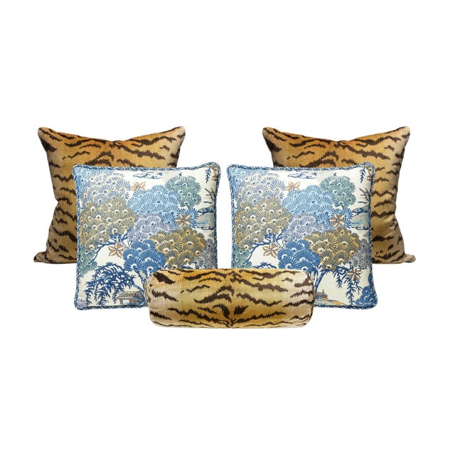 Traditional Scalamandre Tigre and Green Sea of Trees Pillow Bundle - Set of 5 For Sale - Image 3 of 3
