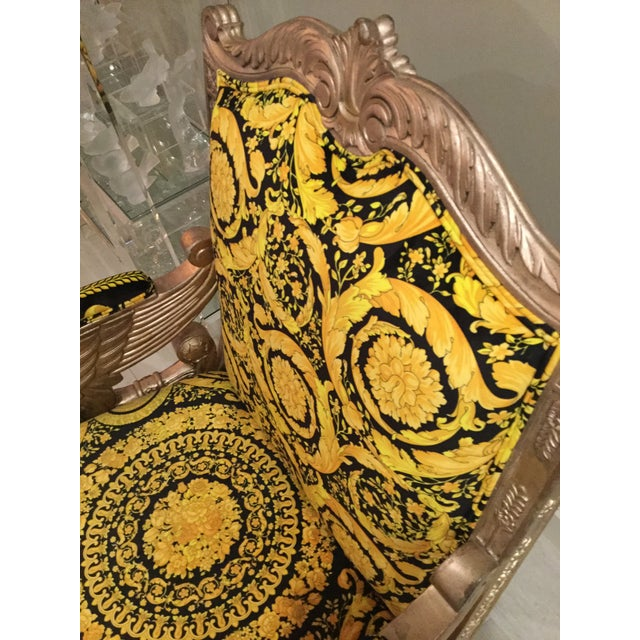 Versace 1960s Vintage Gianni Versace Black Gold Upholstery Throne Swan Chair For Sale - Image 4 of 13