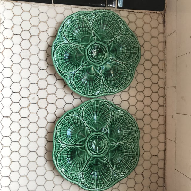 Green French Glazed Oyster Plates-Pair For Sale - Image 11 of 11