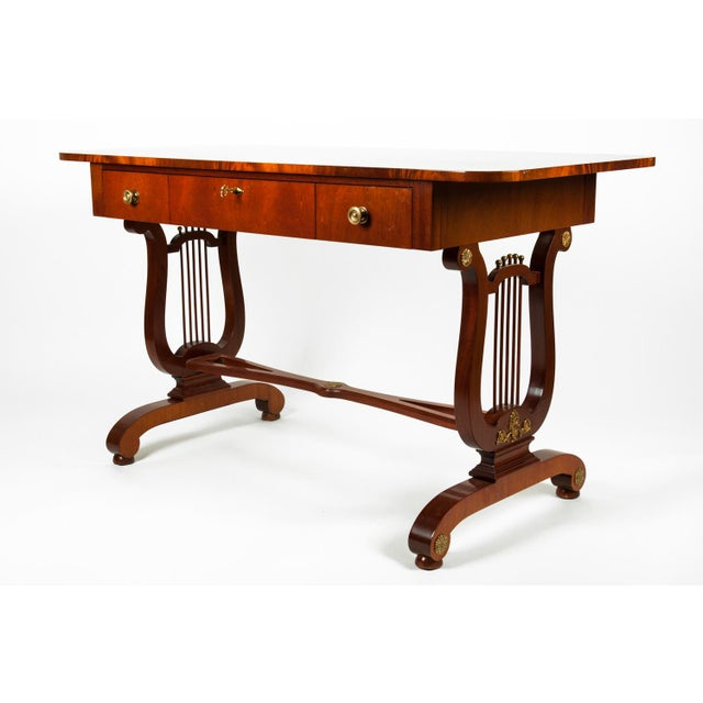 Burlwood Vintage Mahogany Burlwood Writing Desk or Console Table For Sale - Image 7 of 13