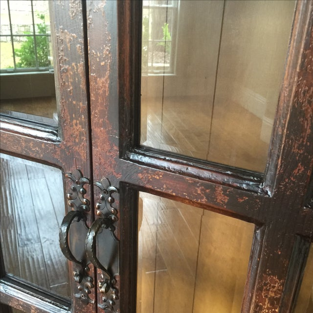 Traditional Wooden Armoire with Beveled Glass - Image 5 of 5