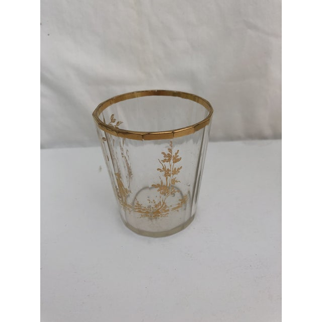 1910s 1910s Art Nouveau Gilt Decorated Small Carafe & Glass - 2 Pieces For Sale - Image 5 of 7