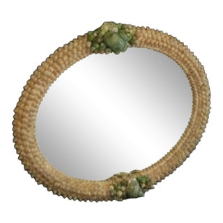 Green Turbo Shell Oval Wall Mirror For Sale