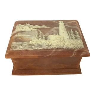 1970s Vintage Soapstone Keepsake Box For Sale