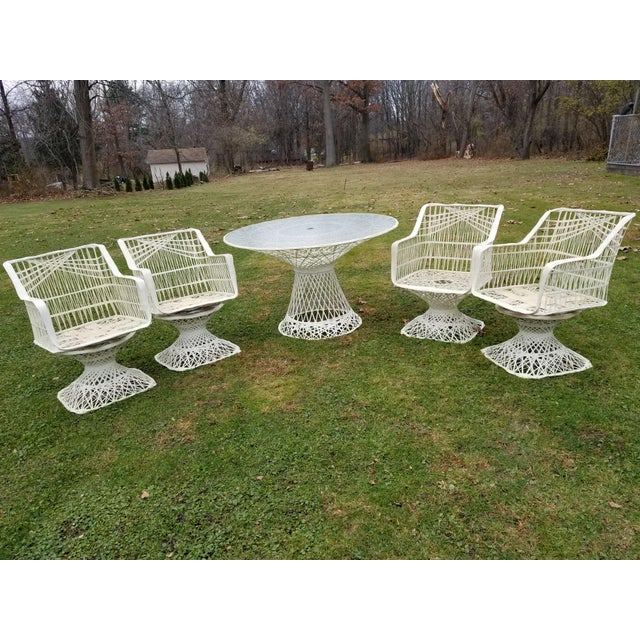 Russell Woodard Spun Swivel Fiberglass Style Chair Table Patio Set 5 Pc For Sale - Image 11 of 11