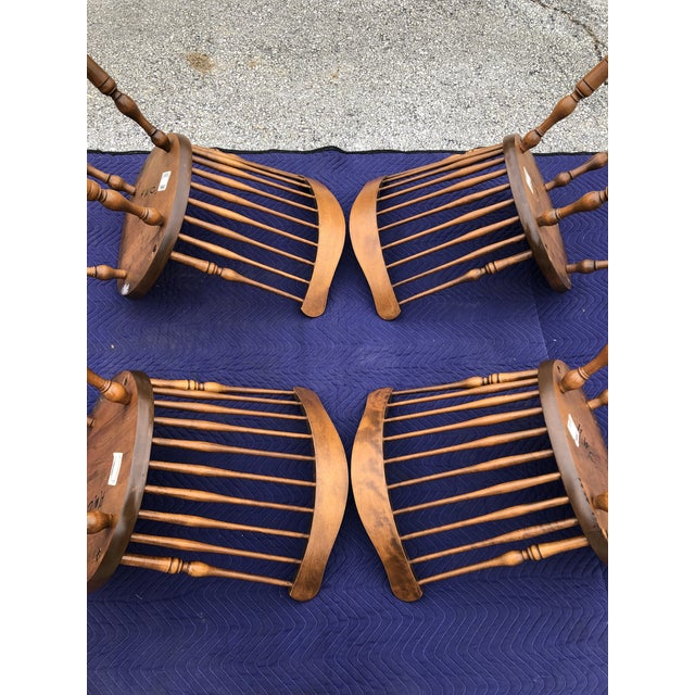 Vintage Mid Century S. Bent & Bros. Windsor Chairs - Set of 4 For Sale In Philadelphia - Image 6 of 11