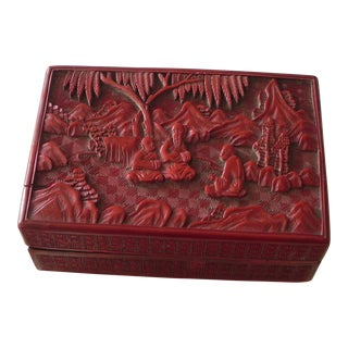 Chinese Red Cinnabar Carved Box