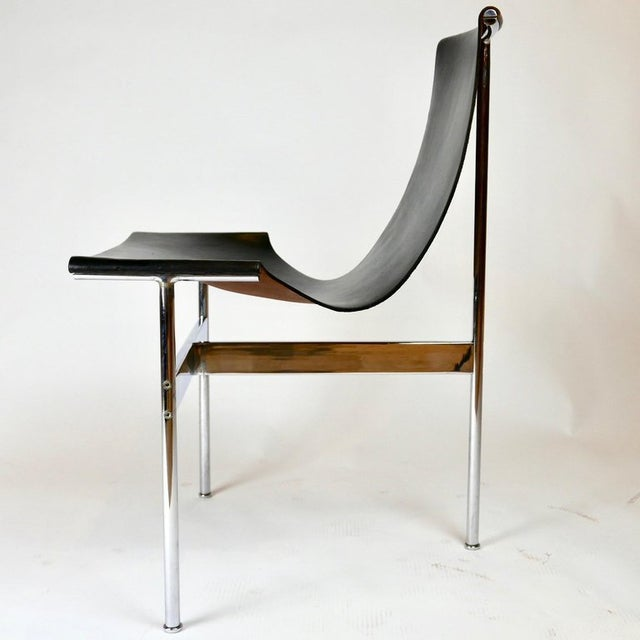 """Set of 6 1952 Katavolos Kelley & Littell for Laverne """"T"""" Chairs in Black Leather For Sale - Image 9 of 13"""