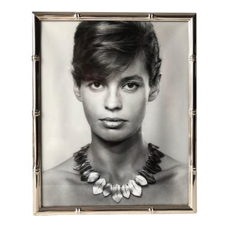Italian Faux Bamboo Silver Portrait Frame-Suede Easel Back For Sale