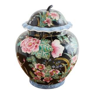 Chinese Export Famille Noir Porcelain Ginger Jar