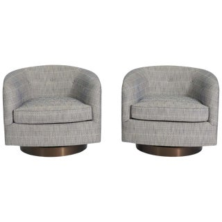 Milo Baughman Swivel Chairs on Bronze Bases- A Pair For Sale