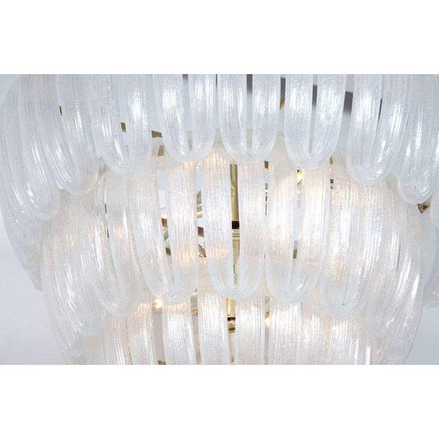 Transparent Hand Blown Glass Loop Chandelier after Barovier & Toso For Sale - Image 8 of 10