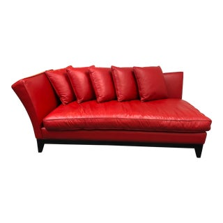 Custom Red Leather Chaise Sofa Lounge For Sale