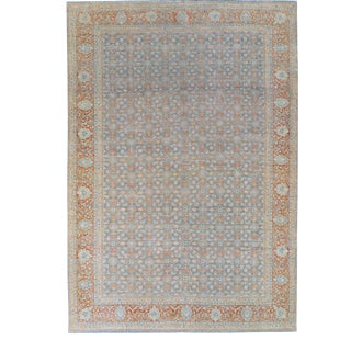 Antique Malayer Handmade Blue and Rust Floral Wool Rug For Sale