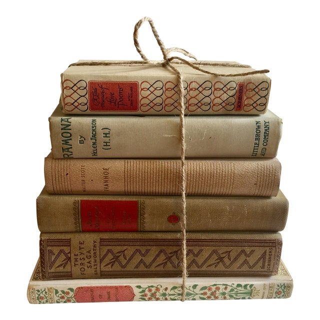 Cream Colored Vintage Books - Set of 6 - Image 1 of 4