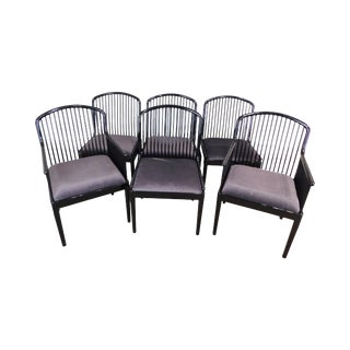 Davis Allen for Montina Set 6 Black Lacquer Spindle Andover Arm Dining Chairs For Sale