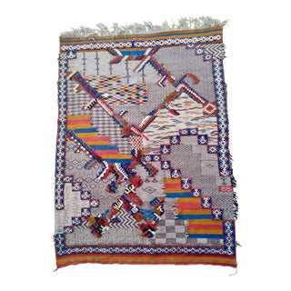 Hand Knotted Moroccan Berber Zanifi Area Rug Blue Red Orange Pattern For Sale