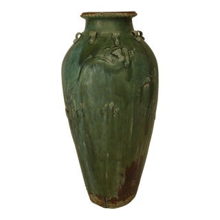 Asian Chinese Green Glazed Pottery Martavan Storage Jar with Dragons & Clouds For Sale