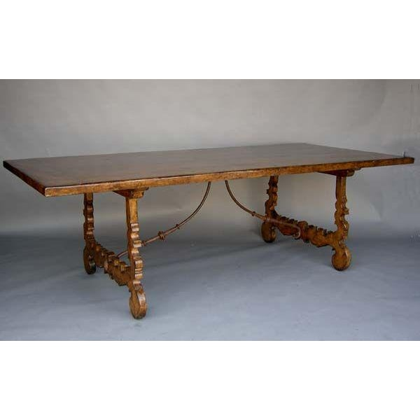 Mediterranean Walnut Lyre Leg Table For Sale - Image 3 of 3