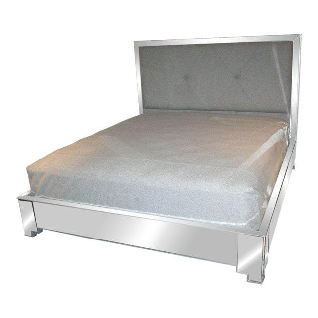 Custom Mirrored Bed with Silver Trim Detailing For Sale