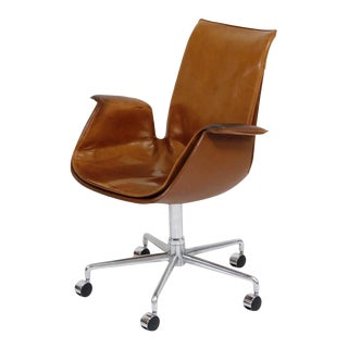 Aged Cognac Leather Bird Chairs by Fabricius & Kastholm for Alfred Kill, 1960s For Sale