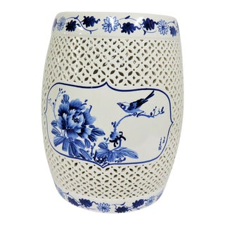 Chinese Blue & White Floral Bird Porcelain Garden Stool For Sale